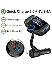 (Upgraded Version) Bluetooth FM Transmitter, Sumind Wireless Radio Adapter Hands-Free Car Kit with 1.7 Inch Display, QC3.0 and Smart 2.4A Dual USB Ports, AUX Input Output, TF Card Mp3 Player