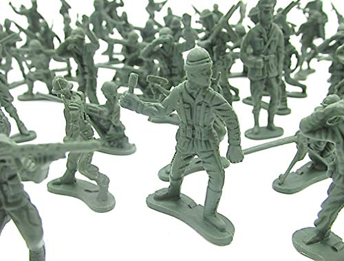 Dazzling Toys Miniature Toy Soldier Figurines 144 Count - Novelty Mini Combat Army Foot Soldiers | Mercenary Trooper Infantry Military Men at Arms Set of 144 Pcs Multiple Styles]()