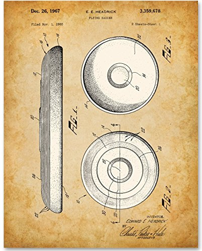 Frisbee Art Print - 11x14 Unframed Patent Print - Great Gift for Frisbee Enthusiasts