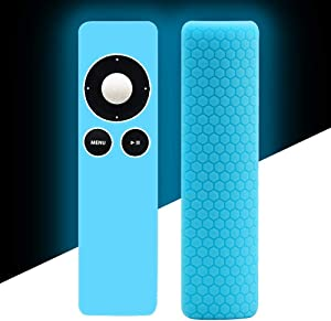 Silicone Protective Case Cover Skin Holder for Apple TV 2 3 Remote Controller,Remote Case Cover Skin Sleeve Protetcor Accessories[Anti-Lost]Anti Slip for Apple TV Remote Control-Blue Glow in The Dark