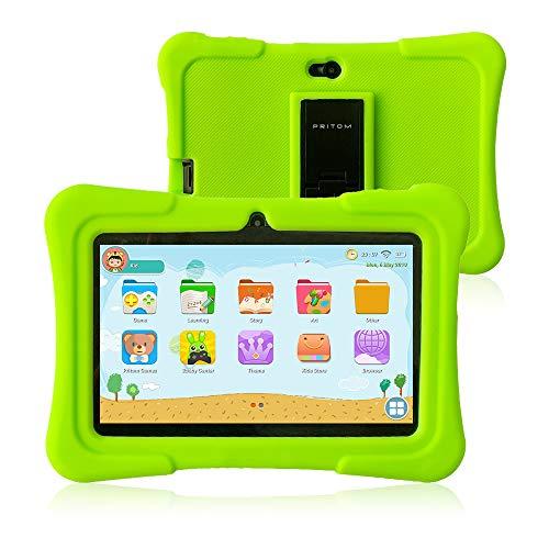 Pritom 7 inch Kids Tablet   Quad Core Android,1GB RAM+16GB ROM   WiFi,Bluetooth,Dual Camera   Educationl,Games,Parental Control,Kids Software Pre-Installed with Kids-Tablet Case (Green) (Tablet Quad Core 1gb Ram)