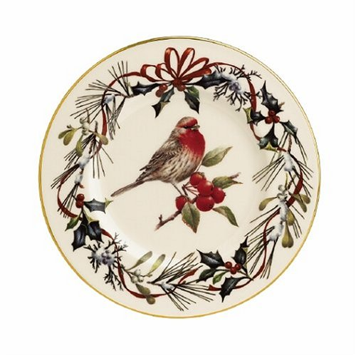 Lenox Winter Greetings Gold Banded Ivory China House Finch 9 Accent Plate