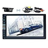 Wireless Backup camera+7 Inch Capacitive Touchscreen car Stereo In dash video audio Mirror Link for Android APP phones Double Din Car Radio NO-DVD Player