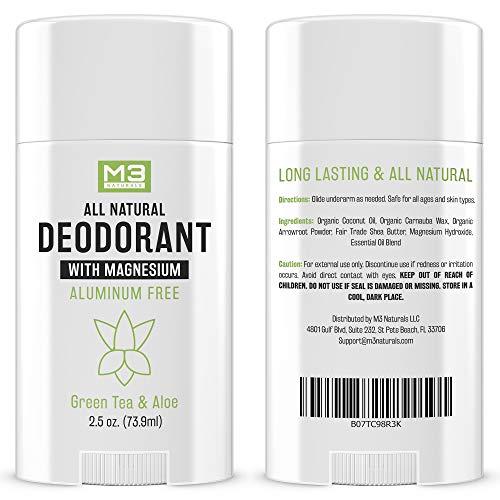 M3 Naturals - Natural Deodorant for Women and Men - Vegan, Gluten Free, Cruelty Free - Contains Magnesium - Aluminum Free, Paraben Free, Sulfate Free - Organic Coconut Oil, Green Tea and Aloe 2.5 oz