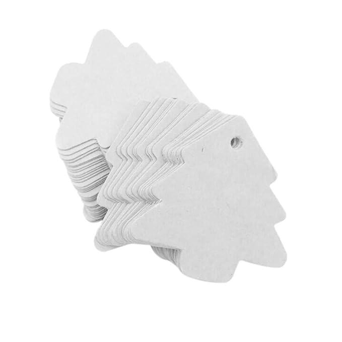 Dolland 50 PCS Paper Gift Tags Kraft Tag Christmas Tree Shape Hang Labels for Christmas Wedding Birthday Thanksgiving,Black