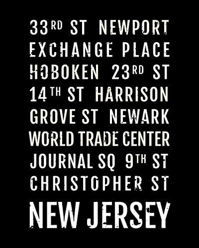 New Jersey Train (New Jersey Print - NJ Path Stations - Subway Poster, Boyfriend Gift, Husband Gift, Wall Art, Train Scroll, Bus Scroll, Word Art, Typography)