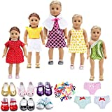 TOYYSB 18 inch Doll Clothes Gift for Girls - Include 5 Set Toys Doll Outfits + 2 Pairs Shoes Accessories fit for American Girl Dolls