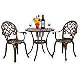 WisHome European Style Cast Aluminum Outdoor 3 Piece Patio Bistro Set of Table and Chairs with Ice Bucket Bronze