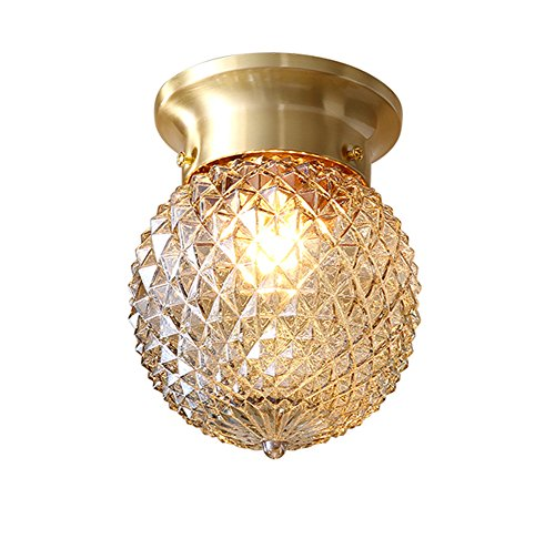 NOXARTE Pineapple Style Ceiling Light Art Design Brass Body Glass Shade Flush Mount Ceiling Lamp Lighting Fixture for Bathroom, Foyer, Hallway