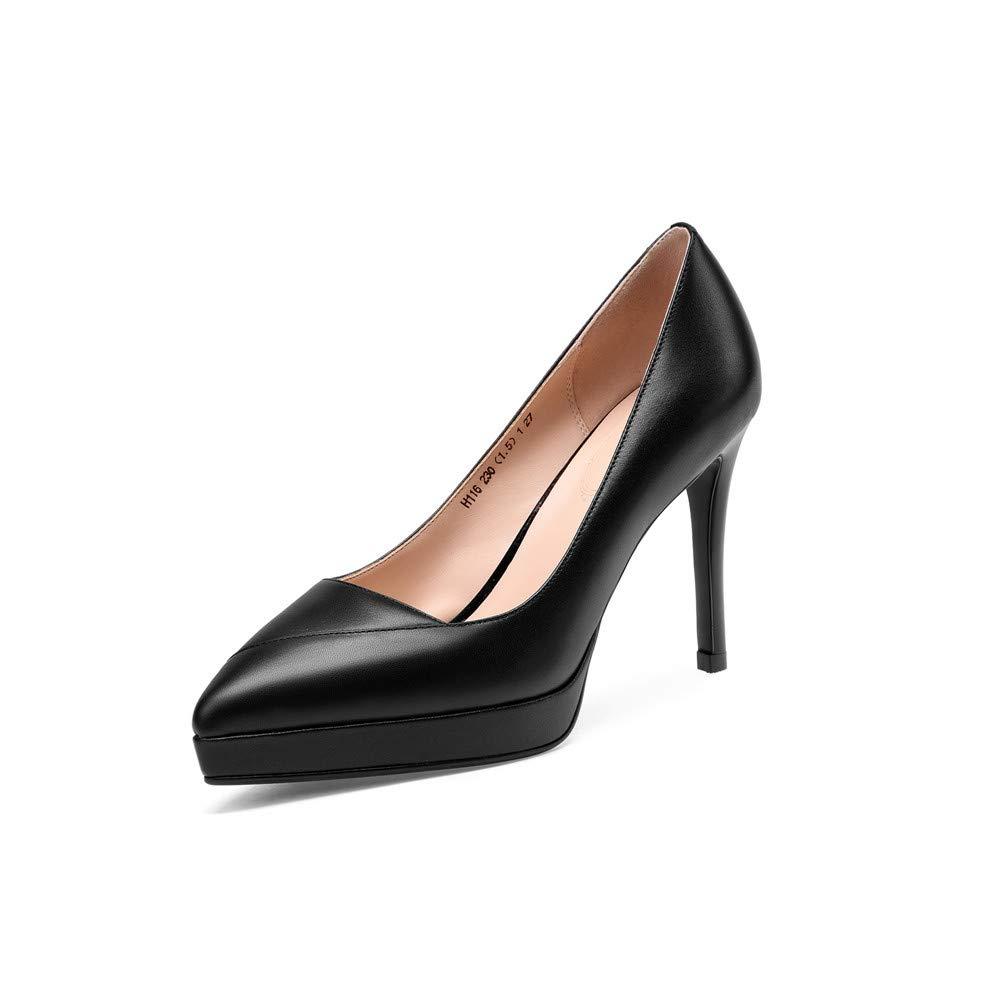 Black Nine Seven Genuine Leather Women's Almond Toe High Stiletto Heel Cute Handmade Concise Slip On Platform Women Business Pumps