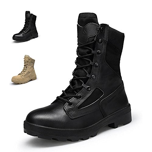 ENLEN&BENNA Army Boots for Men Combat Boots Military Boots Coyote Tan Leather Tactical Composite Toe Brown Black
