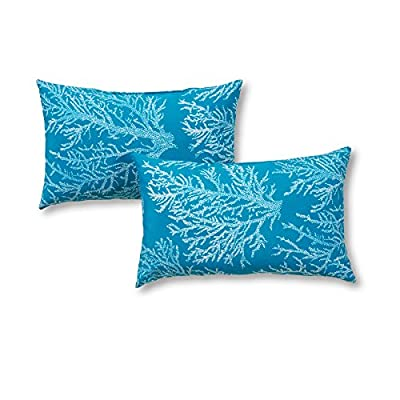 Greendale Home Fashions Rectangle Outdoor Accent Pillow (set of 2), Seacoral - Set includes two 19 x 12 inch accent pillows 100% polyester, UV-resistant outdoor fabric Poly fiber fill made from 100-percent recycled, post-consumer plastic bottle - patio, outdoor-throw-pillows, outdoor-decor - 51VZEQv%2B3UL. SS400  -