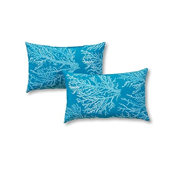 Greendale Home Fashions Rectangle Outdoor Accent Pillow (set of 2), Seacoral - Set includes two 19 x 12 inch accent pillows 100% polyester, UV-resistant outdoor fabric Poly fiber fill made from 100-percent recycled, post-consumer plastic bottle - patio, outdoor-throw-pillows, outdoor-decor - 51VZEQv%2B3UL. SS570  -