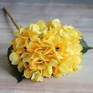 Adarl Artificial Flower Fake Flower Silk Hydrangea Flower Bouquet For Home Office Decor Party Festival Wedding Decoration(Yellow,1pc) 3