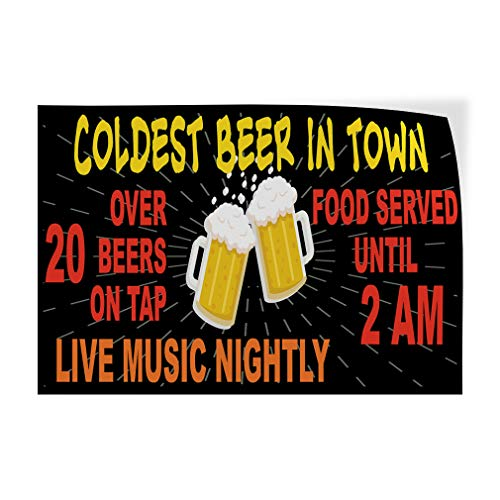 (Custom Door Decals Vinyl Stickers Multiple Sizes Coldest Beer in Town Music Food Beer Tap Food & Beverage Beer Outdoor Luggage & Bumper Stickers for Cars Black 72X48Inches Set of 2)