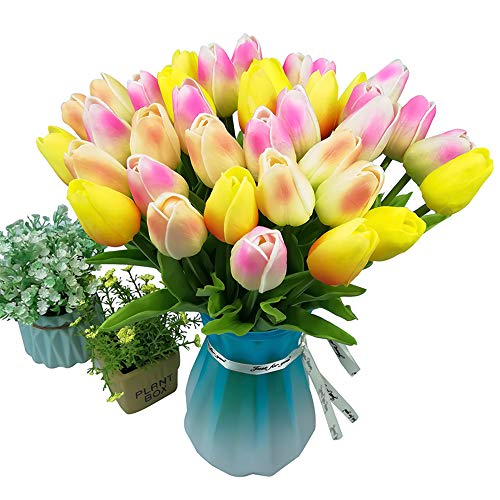 Artificial Pink Silk Tulips 6 35cm//14 Inch Stems