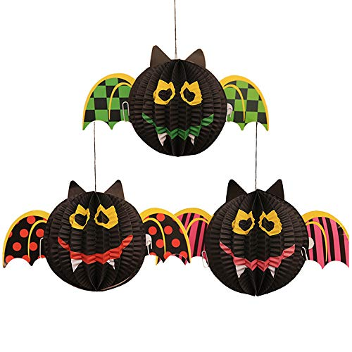 Halloween 3 Pack Paper Lanterns Hanging 3D Pumpkin Spider Ghost Bat Folding Paper Lantern for Halloween Props (Bat)]()
