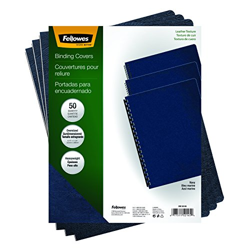 Fellowes Executive Binding Presentation Covers, Oversize, Navy, 50 Pack (52145)