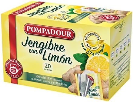 Pompadour Té Infusion Jengibre con Limón 20 bolsitas - Pack de 2 ...