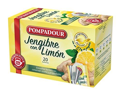 Pompadour 40118 - Te Infusion Jengibre con Limon, 20 bolsi
