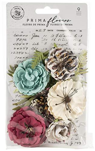 (Prima Marketing 637927 Midnight Garden Mulberry Paper Flowers 9/Pkg-Light & Dark)