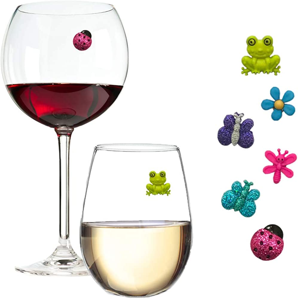 Wine Glass Charms Magnetic Drink Markers Set Of 6 Fun Summer Cocktail Identifiers With Ladybug Frog And Flower Wine Charms Clothing Amazon Com