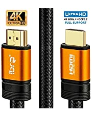 Câble HDMI 4K 20m - HDMI 2.0b 4K@30Hz Haute Vitesse par Ethernet en Nylon Tressé Supporte 3D/Retour Audio - IBRA Orange