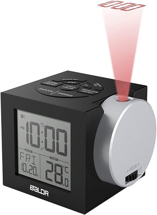 Baldr proyector reloj despertador digital 5 idiomas, fondo con 7 ...
