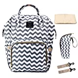 Hiday Diaper Backpack Set-Diaper bag+Changing Pad+Insulated Bottle Pocket+Stroller Straps, Multi-Function and Stylish