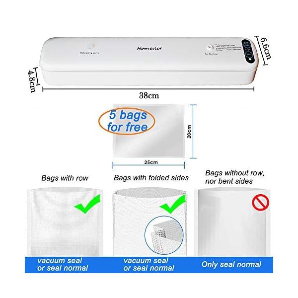 Homeslct Macchina Sottovuoto Professionale per Alimenti, Sigillatore Sottovuoto con 1 Tubo Accessorio e 5pz Sacchetti… 6