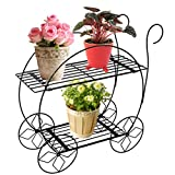 PAG Home Decor 2 Tier Metal Garden Carts Plant Stands Flower Pot Holder,Black