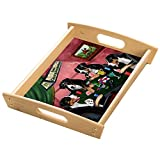 Home of Greater Swiss Mountain 4 Dogs Playing Poker Wood Serving Tray with Handles Natural