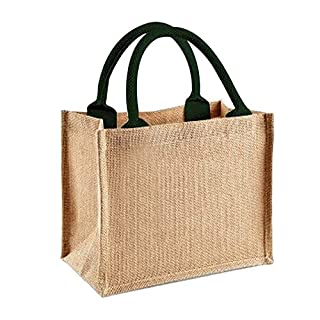 Westford Mill Jute Mini Gift Bag (6 Liters) (One Size) (Natural/Forest Green)