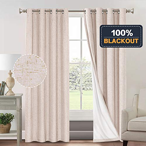 100% Blackout Curtains for Living Room Primitive Linen Look Curtains for Bedroom 2 Panels Waterproof Thermal Insulated Curtains Room Darkening Curtains with White Liner (52 x 96, Natural) (Blackout Curtains Total)