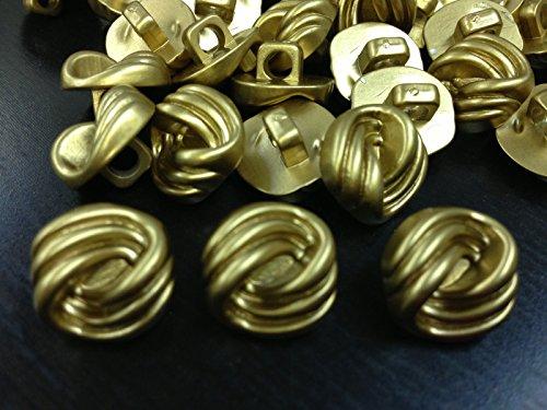 ShopForAllYou Buttons Craft Sewing 100 Swirl Design Buttons Matte Gold Shank Base 1/2