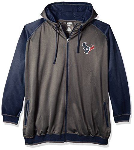 NFL Houston Texans Men FULL ZIP POLY FLEECE RAGLAN, CHARCOAL/NAVY, 3X - Houston Texans Charcoal