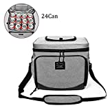 16 can cooler lunch box - FHEAL 24-Can Large Insulated Lunch Box Thermal Lunch Bag for Men/Women,Soft Cooler Bag with Adjustable Shoulder Strap&Cutlery Pocket(6 Slots), Travel/Hiking/Beach(Grey,15L)