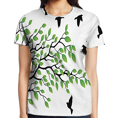 - WuLion Spring Tree with Silhouette of Flyind Birds Wind Liberty Peace Women's 3D Print T Shirt XL White