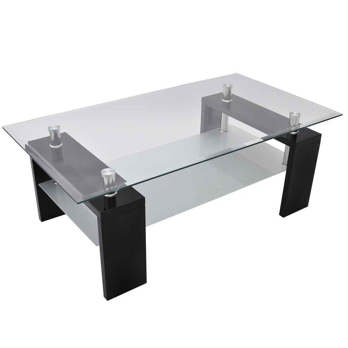 Tavolino basso da salotto quadrato in vetro nero: Amazon.it: Casa ...