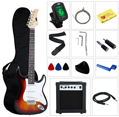 Stedman Pro Beginner Series 39-Inch Electric Guitar with 10-Watt Amp, Case, Strap, Cable, Capo, Picks, Electronic Tuner, Stringwinder and Polish Cloth – Sunburst