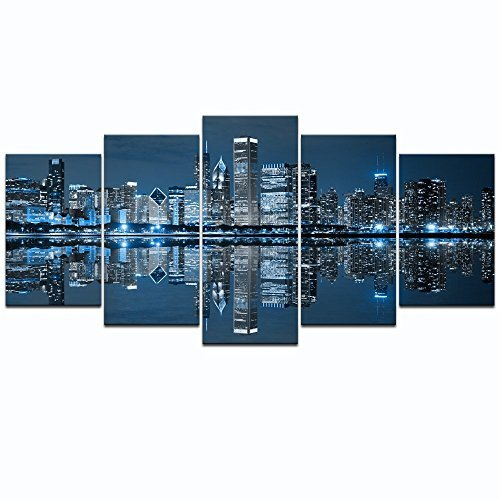 Live Art Decor  Chicago Downtown At Night Picture Canvas Print   Modern City Wall Art   5 Panels Framed Artwork For Office Living Room Wall Decoration