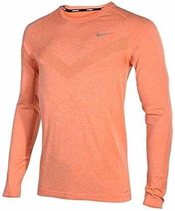 Nike Men's Dri-Fit Knit Long Sleeve Running Shirt-Tangerine-Small