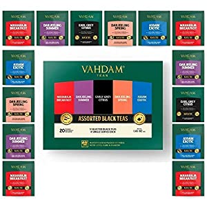 VAHDAM, Assortimento di tè nero | 5 tè, 4 bustine di tè piramide ciascuno | Prima colazione Maharaja, Agrume Earl Grey…