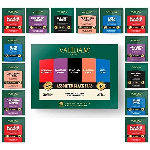 Vahdam, Black Tea Sampler, 5 Teas - Tea Variety Pack | Assorted Black Tea Bags | English Breakfast, Darjeeling, Assam, Earl Grey Tea Bags | 20 Count | Finest Tea Gift Set & Tea Gift For Tea Lovers ()