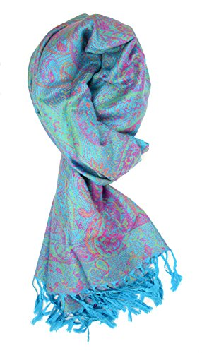 - Plum Feathers Tapestry Ethnic Paisley Pattern Pashmina Scarf (Turquoise Tapestry)