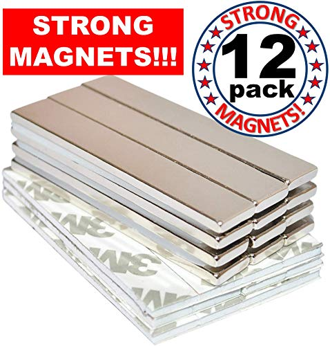 Rare Earth Magnets Strong Neodymium: Bar Adhesive Super Permanent Metal Rectangular, 60x10x3mm, Powerful Pull Force, 12 Pack| Heavy Duty, Fridge Door, Garage, Kitchen, Science, Craft, Art, Office, DIY (Chairs List Price Plastic)