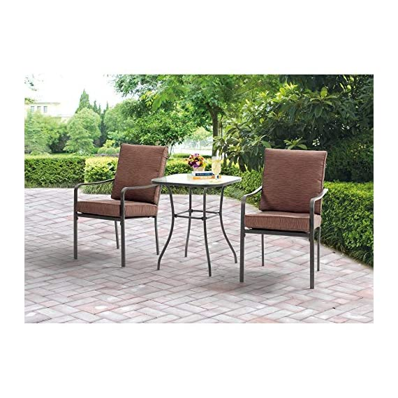 Outdoor Patio Bistro Furniture Set | 3 Piece Powder-Coated Steel Frame Table and Chairs, Water Wave Tempered Safety Glass Tabletop and UV-Resistant Cushions - Give New Life To Backyard Dining (Brown) -  - patio-furniture, dining-sets-patio-funiture, patio - 51VZIG6WAYL. SS570  -