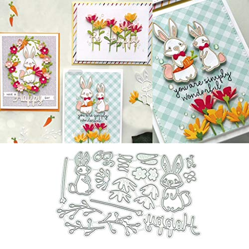 Hukai Rabbits DIY Metal Cutting Dies Stencil Scrapbooking Photo Album Stamp Paper Card Crafts Decro,Good Gift for Your Kids to Cultivate Their Hands-on Ability