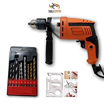 ToolsCentre Reversible Hammer Drill Machine with 9 Pcs Combo Drill Bit Set,13 mm