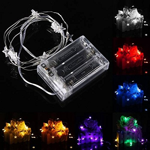 1M 10 LED Battery Powered Star String Fairy Light For Chirstmas Party Weddinng D ( Colorful )